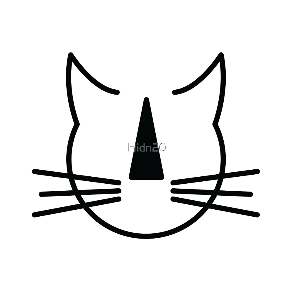 Stripey Nosed Cat Club (black outline, on white background) by Hidn20