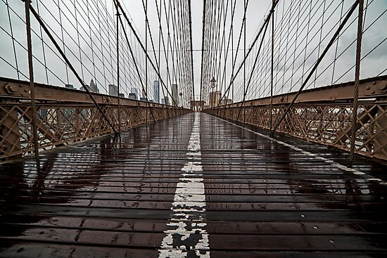 Rainy Day on the Brooklyn Bridge Brooklyn New York Cables by WayneOxfordPh