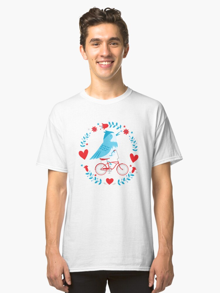 Cute Blue Bird Riding a Red Retro Bicycle Classic T-Shirt Front