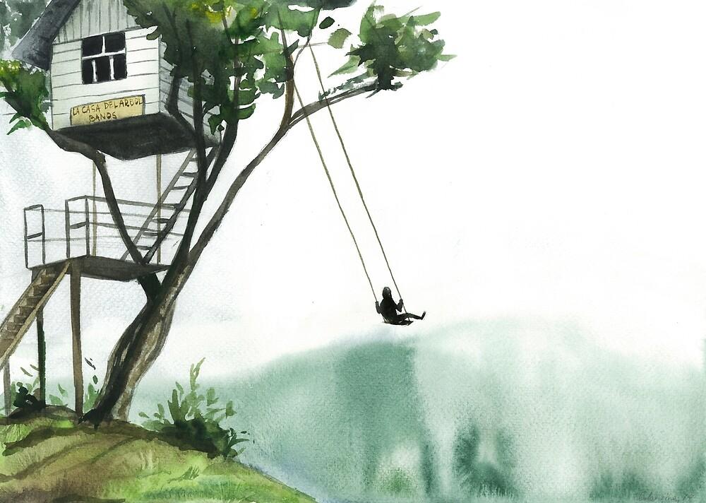 Casa del Arbol - Banos - Ecuador - house on a tree, swing,  watercolor illustration by olgagolovizina