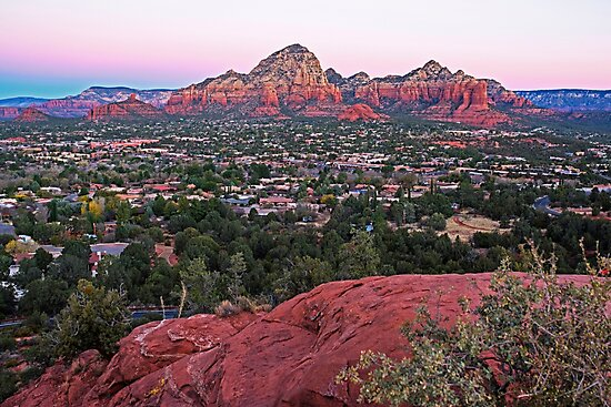 Looking down on Sedona from Airport Mesa Sunrise by WayneOxfordPh