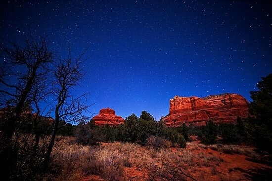 Starry Sky over Bell Rock in Sedona AZ Arizona by WayneOxfordPh
