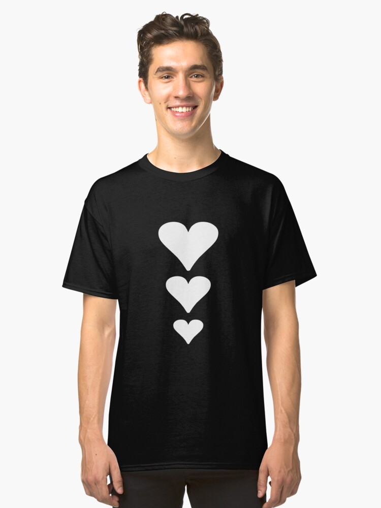 Cute Romantic Three Hearts Valentines Day Gift Classic T-Shirt Front