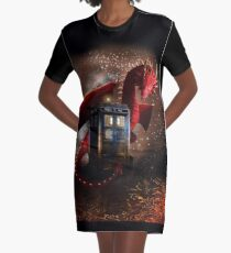 Blue Phone Booth at Dragon Nest Graphic T-Shirt Dress