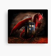 Blue Phone Booth at Dragon Nest Canvas Print