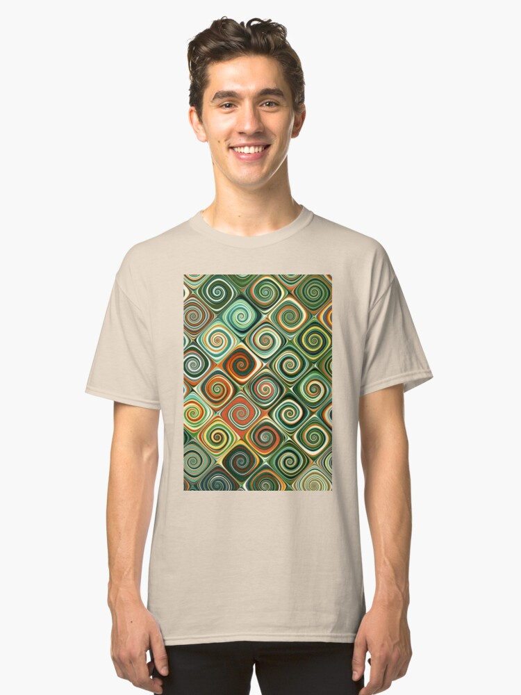 Colourful abstract swirl design Classic T-Shirt Front