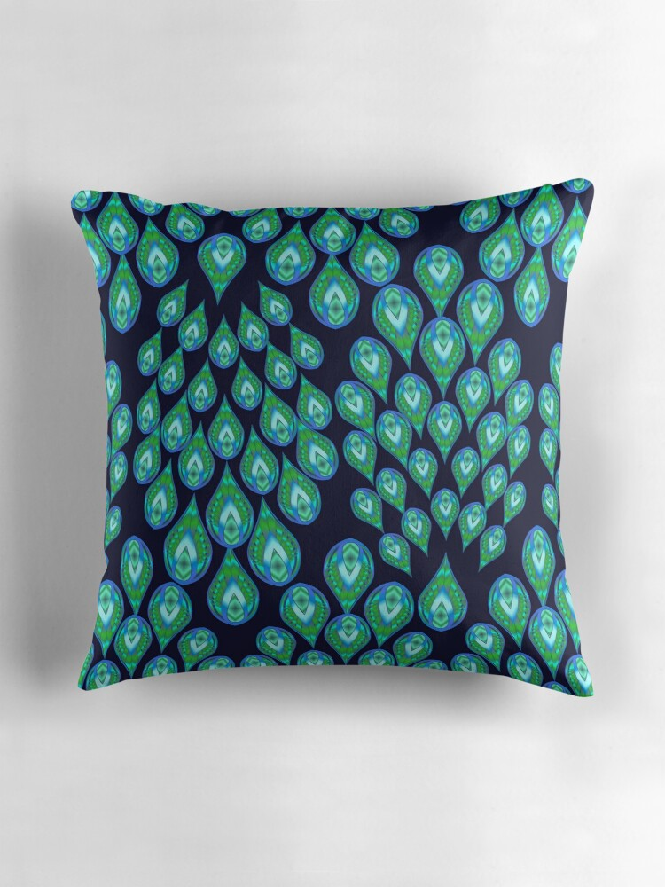 Quot Navy Peacock 111 All Over Print Quot Throw Pillows By Sana90