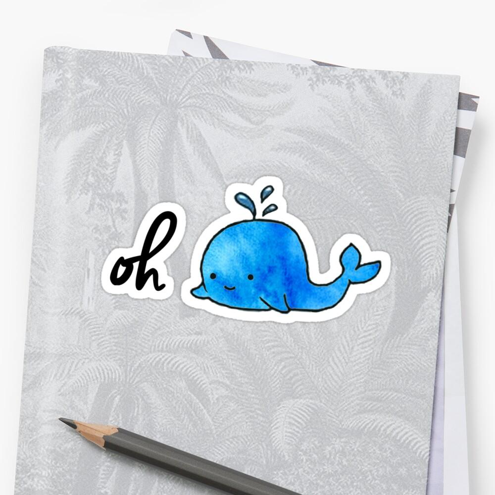 Oh Whale - Acuarela Pegatina