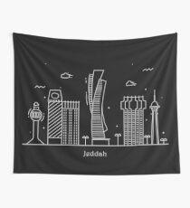 Jeddah Skyline Minimal Line Art Poster Wall Tapestry