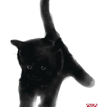 Sweet Black Kitty Card, Sumi-e Painting Illustration Asian Cat Kitten Zen Art Cute Summer Ink Drawing Dog Lover by riceandink