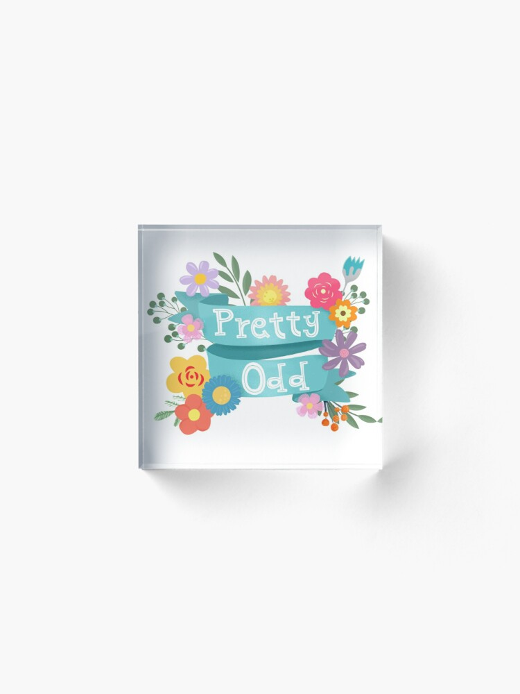Alternate view of Pretty Odd Floral Banner Acrylic Block