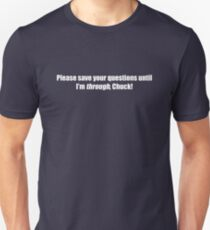 Pee-Wee Herman - Please Save Your Questions - White Font Unisex T-Shirt