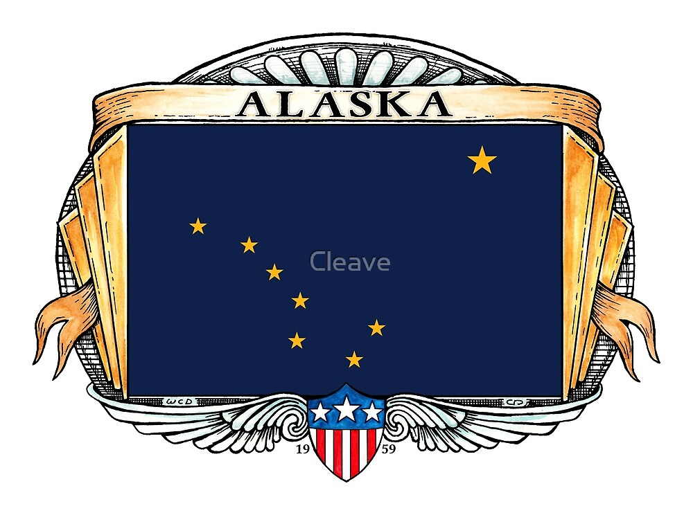 Alaska Art Deco Design with Flag by Cleave