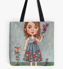A Girl With Flowers Tote Bag