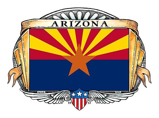 Arizona Art Deco Design with Flag