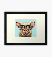 Cute pig with glasses art Framed Print