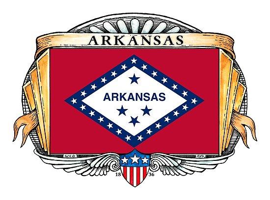 Arkansas Art Deco Design with Flag