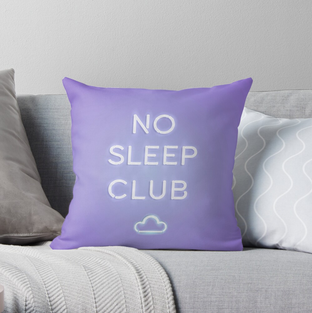 No Sleep Club Throw Pillow