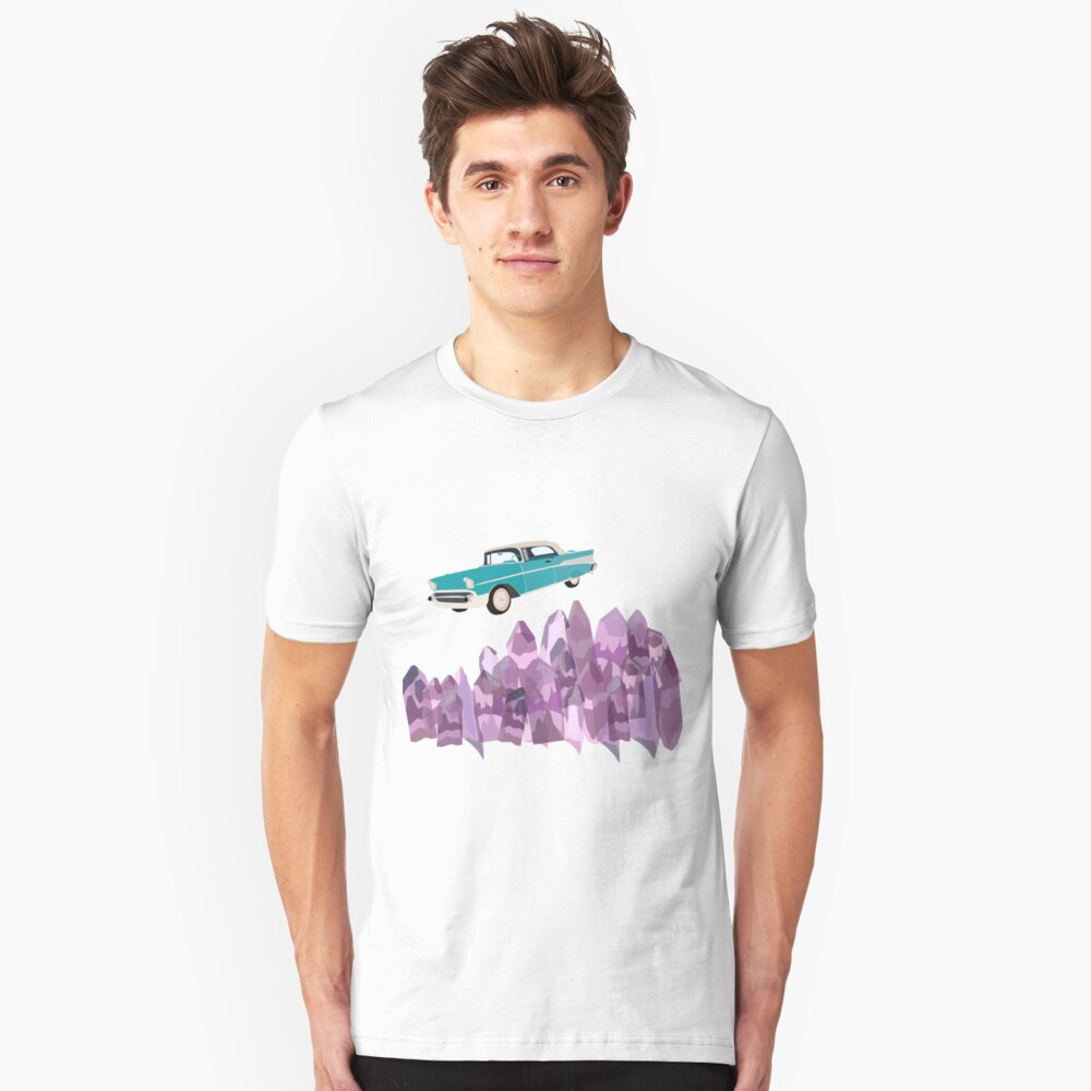 vintage, turquoise, flying car and amethyst crystals Unisex T-Shirt Front
