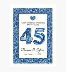 Wedding Anniversary Sapphire - (Personalised) Art Print