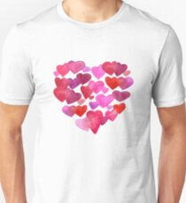 Watercolor hearts romantic design Unisex T-Shirt