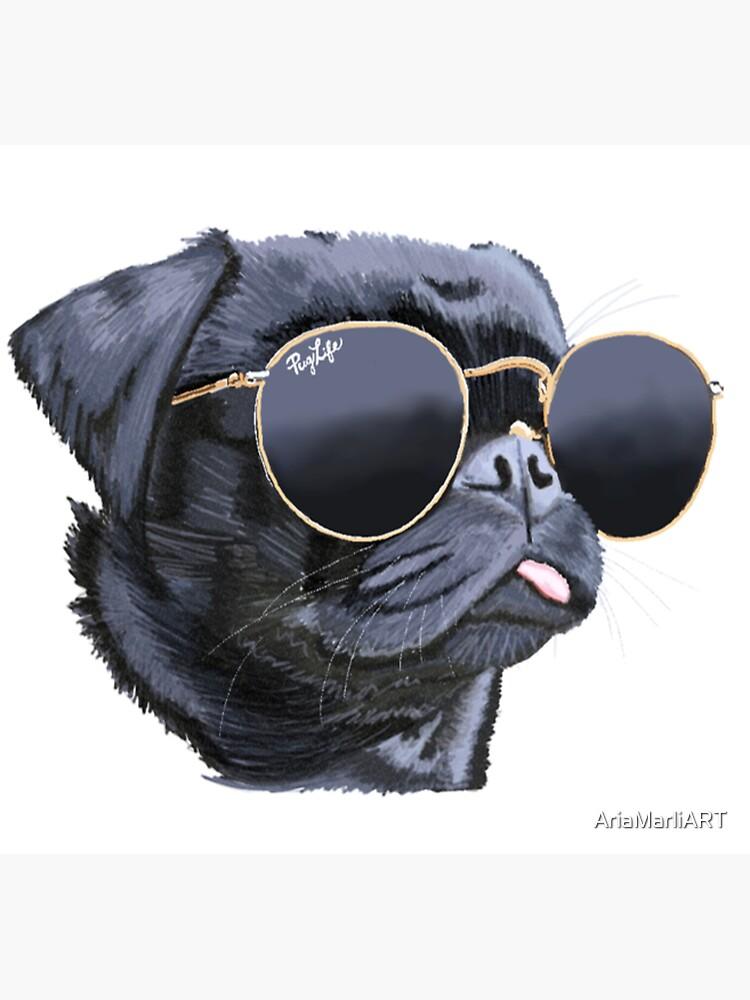 Pug, der Sonnenbrille-Illustrations-Hund trägt von AriaMarliART
