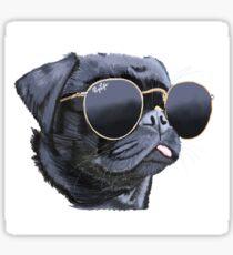 Pegatina Pug lleva gafas de sol ilustración perro