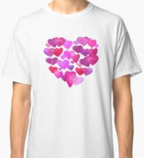 Boken watercolor romantic hearts Classic T-Shirt