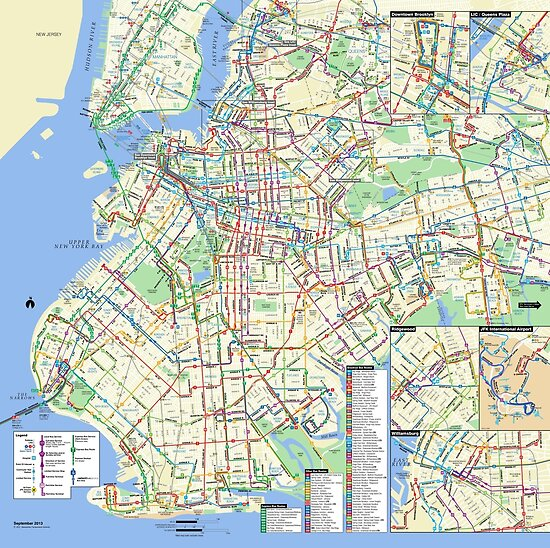 Brooklyn Bus Map HD New York City United States Posters by