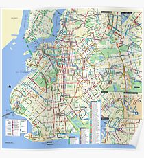 Brooklyn Bus Map - HD - New York City - United States Poster