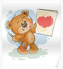 Bear drawing red heart Poster