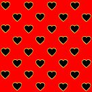 Black Valentine Love Hearts on a Red Background by Artist4God