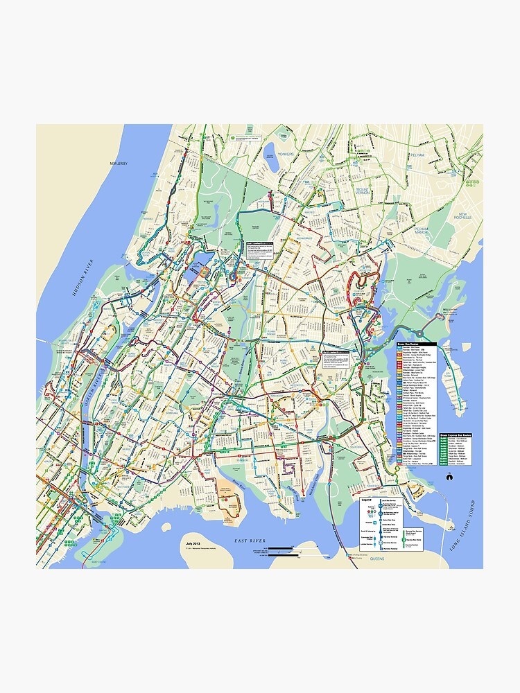 New York City On Map Of Us.The Bronx Bus Map New York City United States Photographic Print