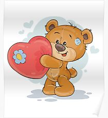 Bear holding red heart Poster