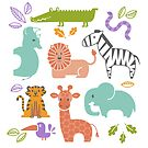 Zoo Animal Pattern in Soft Colors by latheandquill