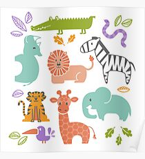Zoo Animal Pattern in Soft Colors Poster