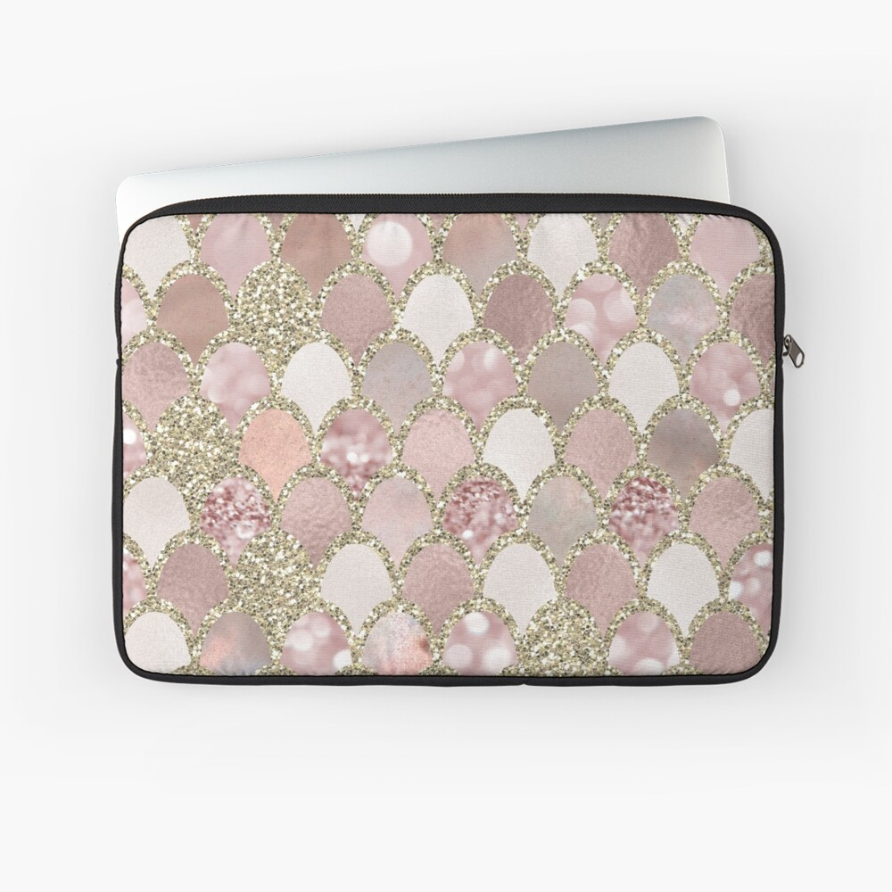 Rose gold mermaid scales - gold Laptop Sleeve Front