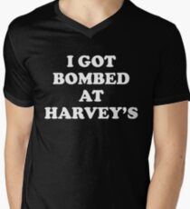 Vintage I Got Bombed at Harveys: Harvey's Wagon Wheel Explosion Shirt 1980 Men's V-Neck T-Shirt