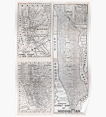 Póster Antiguo Mapa de calles de Manhattan - 1945 - HD - Nueva York - Estados Unidos
