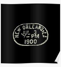 Vintage New Orleans passport stamp Poster