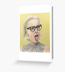Gillian Anderson Tongue Out Original Painting Greeting Card