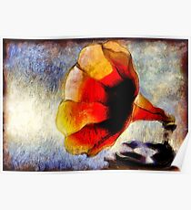 Oil Painting Impression Vintage Red Gramophone     Poster