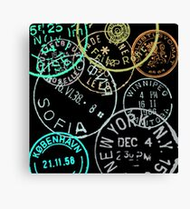 Vintage Passport Stamps Canvas Print