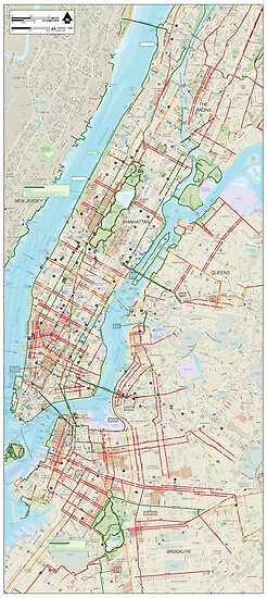 Map Of Manhattan And Bronx.Manhattan Bronx Queens And Brooklyn Bike Map Hd New York City