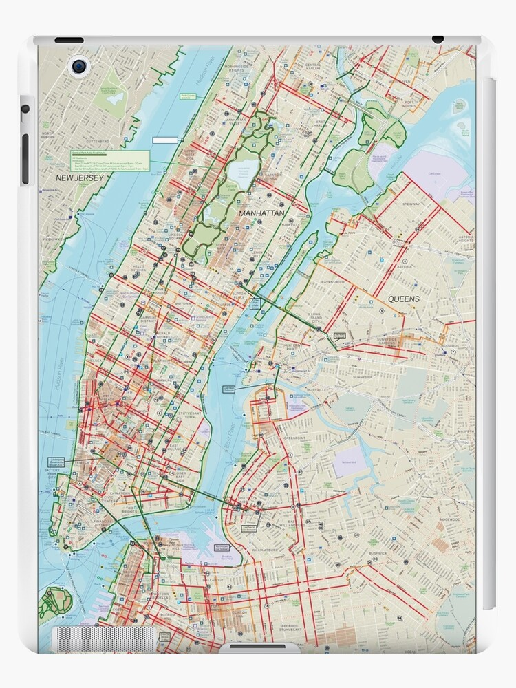 New York City On A Map Of The Us.Manhattan Bronx Queens And Brooklyn Bike Map Hd New York City United States Ipad Case Skin By Superfunky