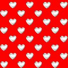 Silver 3-D Look Love Hearts on a Red Background by Artist4God