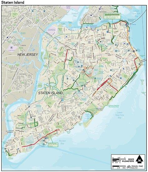 Bike Lane Nyc Map.Staten Island Bike Map Hd New York City United States Posters