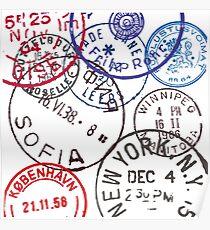 Vintage Passport Stamps Poster