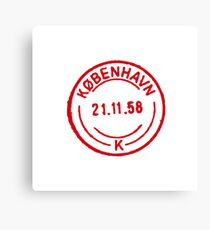 Copenhagen Vintage Passport Stamp Canvas Print