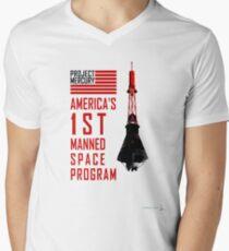 Project Mercury: America's 1st Manned Space Program Men's V-Neck T-Shirt